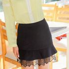 Lace Hem Ruffled Mini Skirt 1596