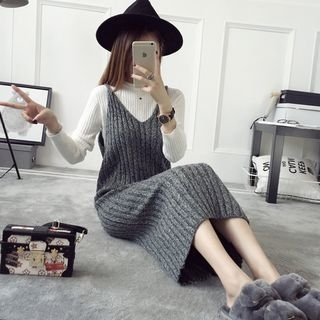 V-Neck Ribbed Knit Strappy Dress 1055283824