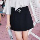 Buckled Plain Pencil Skirt 1596