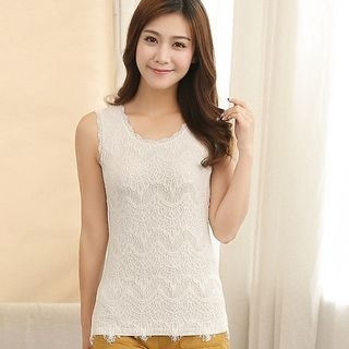 Lace Panel Sleeveless Top 1050330605