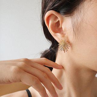 Rhinestone   Firework   Earring   Gold   Size   One