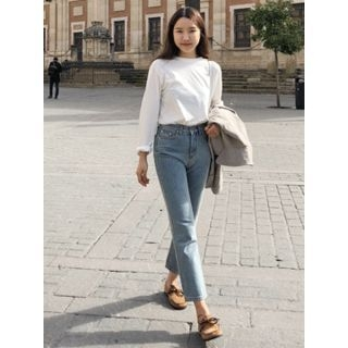 Washed Straight-Cut Jeans 1065190161