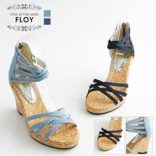 Buy FLOY SHOES Canvas Wedge Sandals 1023054479