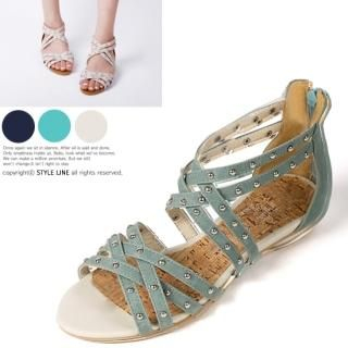 Buy STYLE LINE Studded Cross-Strap Sandals 1022824251