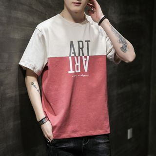 Image of Short-Sleeve Two-Tone Lettering T-Shirt