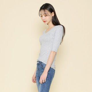 V-Neck Short-Sleeve Ribbed T-Shirt 1057922132