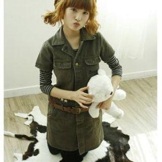 Buy Dodostyle Set: Denim Shirtdress + Belt 1021403190