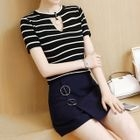 Set: Striped Cutout Short-Sleeve Knit Top + Plain A-Line Skirt 1596