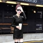 Long-Sleeve Faux-Leather Panel Lace Dress 1596