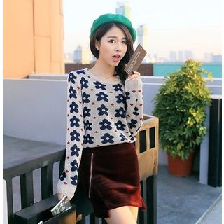 Image of Flower Print Knit Top