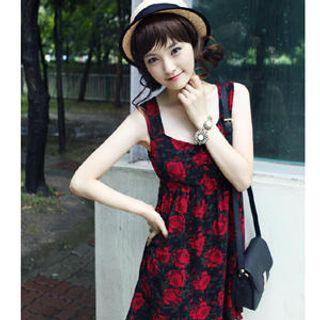 Buy Dodostyle Rose Pattern Sleeveless Empire Dress 1022984622