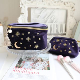 Image of Embroidered Moon & Star Makeup Pouch