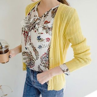 V-Neck Ribbed Cardigan 1058044797