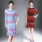 Elbow-Sleeve Lace Sheath Dress 1596