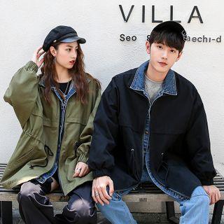 Image of Couple Matching Mock Two-Piece Zip Jacket