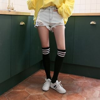 Distressed Washed Denim Shorts 1057522328