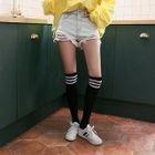 Distressed Washed Denim Shorts 1596