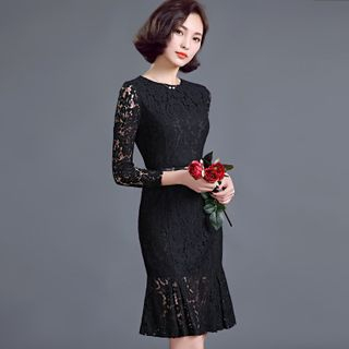 Lace Panel Long-Sleeve Dress