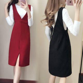 Set: Long-Sleeve Knit Top + Jumper Dress 1062160329