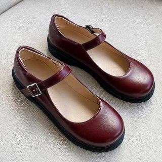 Image of Faux Leather Round-Toe Mary Jane Flats
