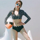 Set: Dotted Cropped Rashguard + Swim Bottom 1596