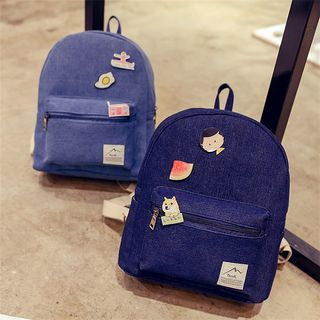 Image of Applique Denim Backpack