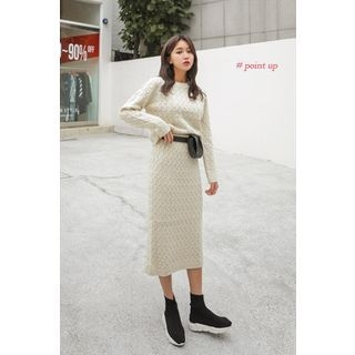 Set: Round-Neck Cable-Knit Top + Band-Waist Long Skirt 1062740212