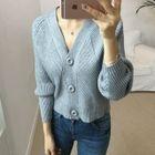 V-Neck Buttoned Rib-Knit Cardigan 1596