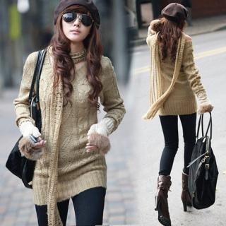 Buy REDOPIN Set: V-Neck Knit Sweater + Knit Scarf 1021933752