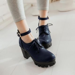 Image of Ankle Strap Chunky Heel Lace-Up Shoes