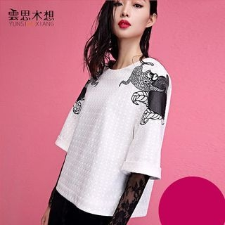 3/4-Sleeve Embroidered T-Shirt