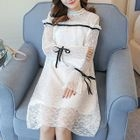 Maternity Bell-Sleeve Lace Dress 1596