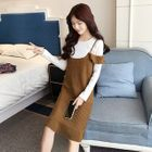 Maternity Long-Sleeve Ribbed Top + Sleeveless Knit Dress 1596