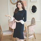 Long-Sleeve Contrast-Cuff Ruffle-Hem A-line Dress 1596