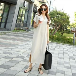 V-Neck Ribbed Maxi Dress 1066582651