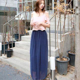 Shoulder Cutout Dotted Maxi Dress