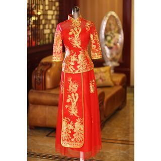 Image of Embroidered Sequined Wedding Cheongsam