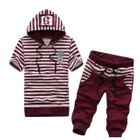 Set: Short-Sleeve Striped Hooded Pullover + Cropped Sweatpants 1596