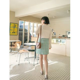 Patterned Wool Blend Skirt