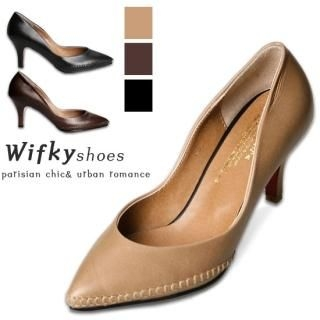 Picture of Wifky Topstitching Pointy Pumps 1022029095 (Pump Shoes, Wifky Shoes, Korea Shoes, Womens Shoes, Womens Pump Shoes)