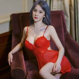 Set: Lace Nightdress + Thongs 1056982640