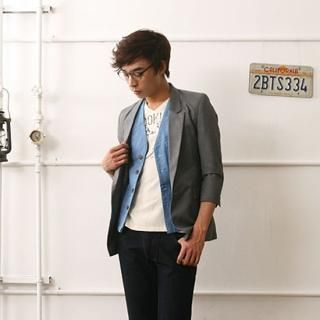 Picture of A-TOM 3/4 Sleeve Single-Button Blazer 1022582895 (A-TOM, Mens Jackets, Korea)