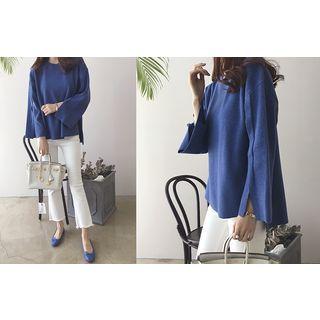 Slit-Sleeve Wool Blend Knit Top 1055398534