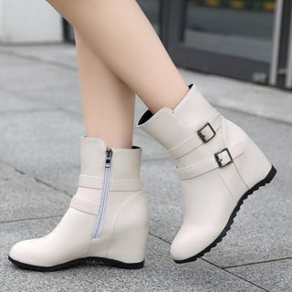 Image of Belted Hidden-Wedge Short Boots