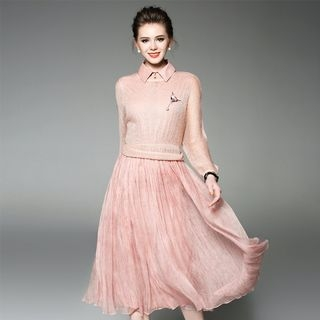 Set: Knit Top + A-Line Dress 1059384652