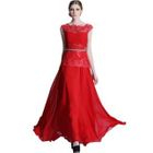Sleeveless Lace Panel Evening Gown 1596