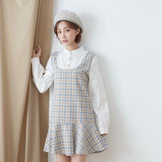 Long-sleeve | Two-Piece | Plaid | Light | Dress | Blue | Size | One