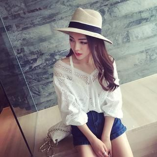 Elbow-Sleeve Lace Top 1039328665