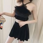 Set: Lace Trim Swim Top + Skirt 1596