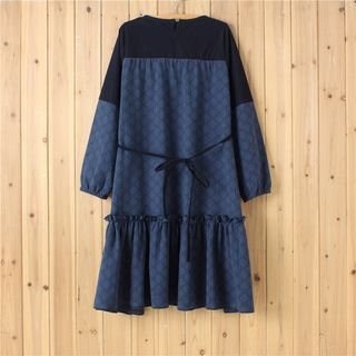 Long-Sleeve Tie-Waist Dress 1062384252